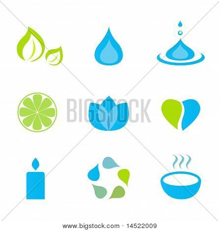 Water, nature and wellness icons - green and blue