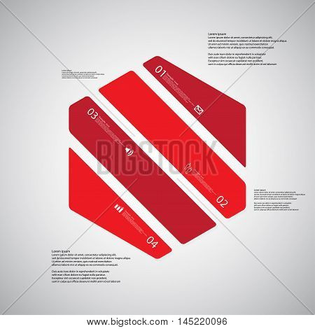 Hexagon Illustration Template Consists Of Four Red Parts On Light Background