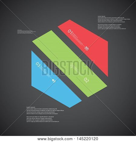 Hexagon Illustration Template Consists Of Three Color Parts On Dark Background