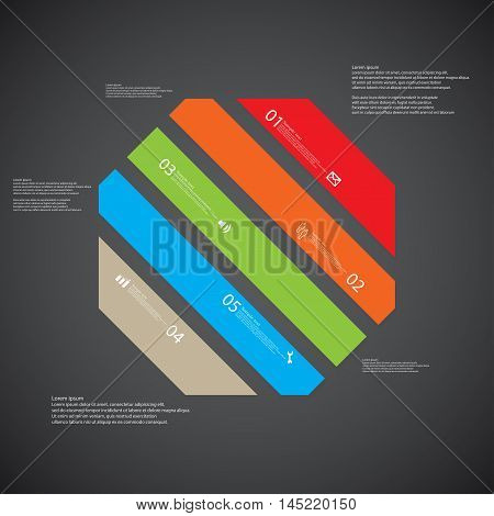 Octagon Illustration Template Consists Of Five Color Parts On Dark Background