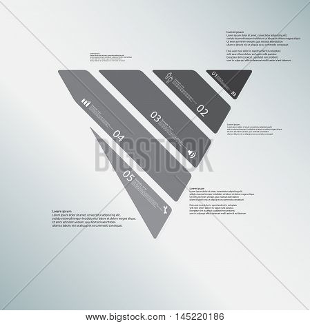 Triangle Illustration Template Consists Of Five Greyscale Parts On Light-blue Background