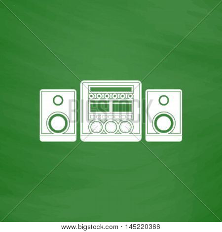 Stereo system. Flat Icon. Imitation draw with white chalk on green chalkboard. Flat Pictogram and School board background. Vector illustration symbol
