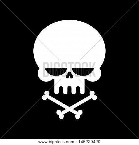 Skull And Crossbones Isolated. Skeleton Head. Sign Danger Of Death