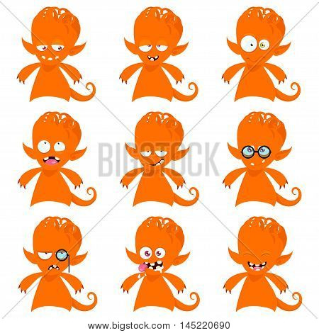Cartoon monster with different emotions. Set of nine emotions stickers.