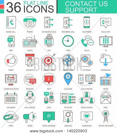 Vector Contact us support modern color flat line outline icons for apps and web design