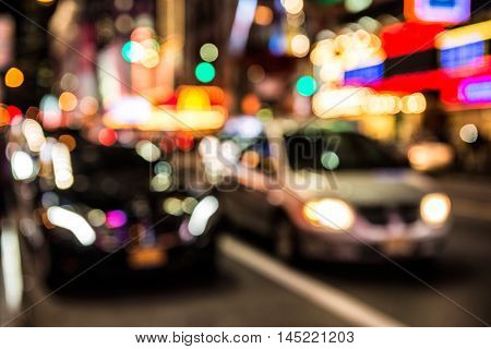 Blurred background of New York night car traffic