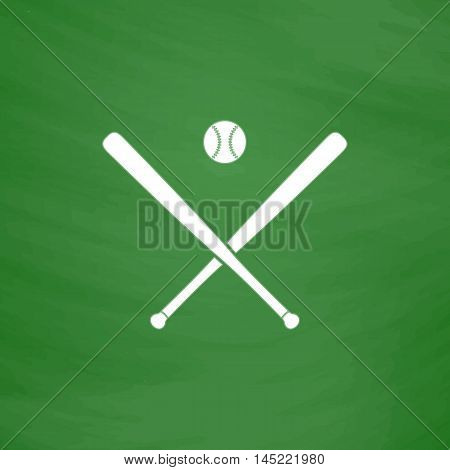 Crossed baseball bats and ball. Flat Icon. Imitation draw with white chalk on green chalkboard. Flat Pictogram and School board background. Vector illustration symbol