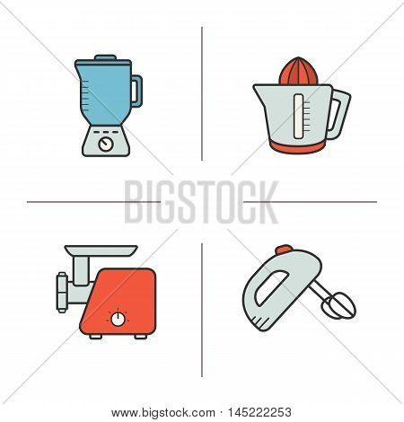 Kitchen appliances color icons set. Blender, juicer, meat grinder and hand mixer. Vector isolated illustrations
