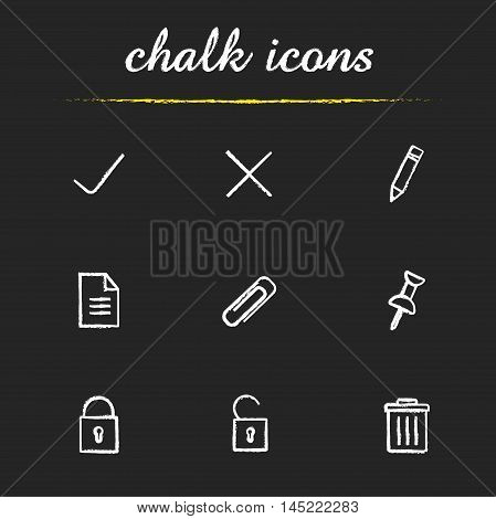 File manager icons set. Edit, save, delete, document, lock, unlock, attach pin and trash bin symbols. Pencil, open and closed padlock, text note. Web pictograms. Isolated vector chalkboard drawings