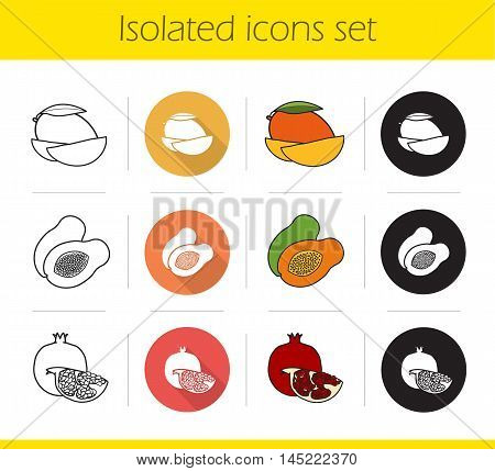 Tropical fruits icons set. Flat design, linear, black and color styles. Sliced mango, halved papaya and open pomegranate. Isolated vector illustrations