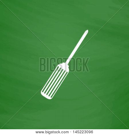 Pocket phillips screwdriver. Flat Icon. Imitation draw with white chalk on green chalkboard. Flat Pictogram and School board background. Vector illustration symbol