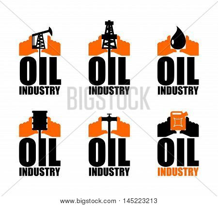 Oil Industry Logo. Petroleum Production Sign. Logo For Petrol Processing. Naphthal Rig Workers And H