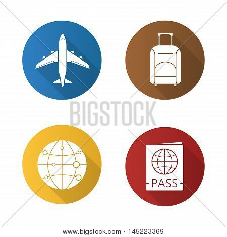 Air travel flat design long shadow icons set. Plane flight, suitcase on wheels, international passport and worldwide globe symbol. Vector