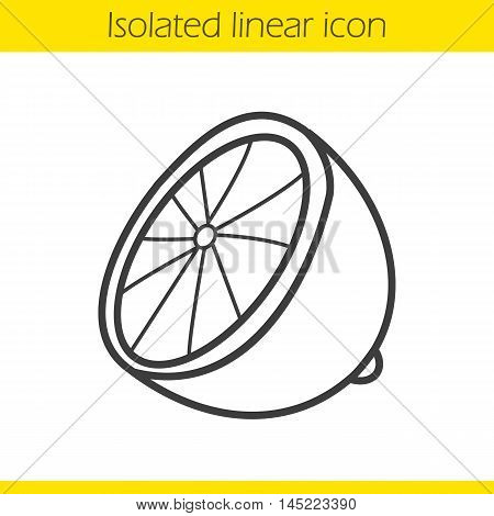 Lemon linear icon. Lime thin line illustration. Lemon half contour symbol. Vector isolated outline drawing