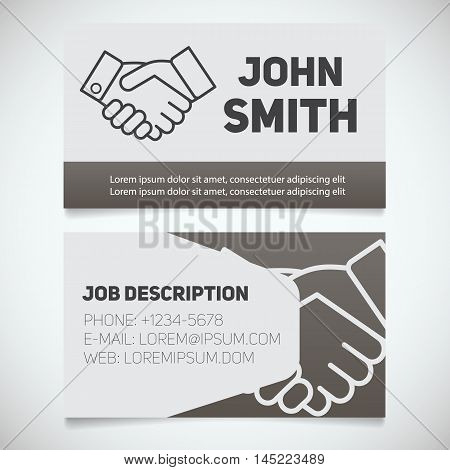 Business card print template with handshake logo. Easy edit. Businessman. Negotiator. Stationery design concept. Vector illustration