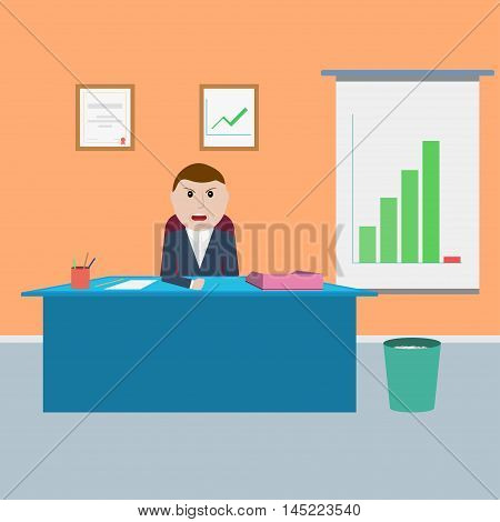 Angry chief in the office. Boss is not satisfied with the results of. Vector illustration