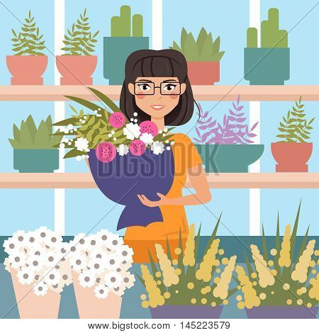Female florist in shop. Holding bouquet of flowers. Cartoon character. Vector isolated illustration. Flower shop