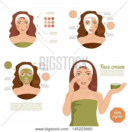 Skin care face. Girl, mask, cream. Brunette in a towel. Cartoon character. Vector isolated illustration
