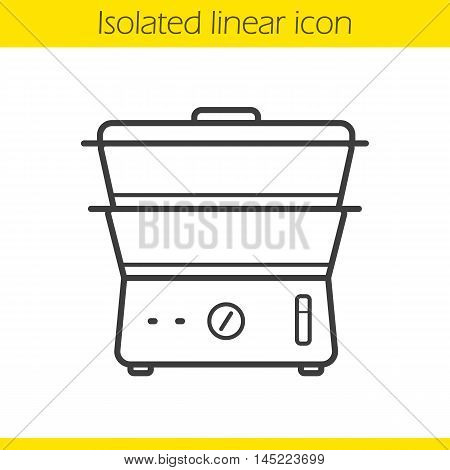 Steam cooker linear icon. Thin line illustration. Steamer contour symbol. Vector isolated outline drawing