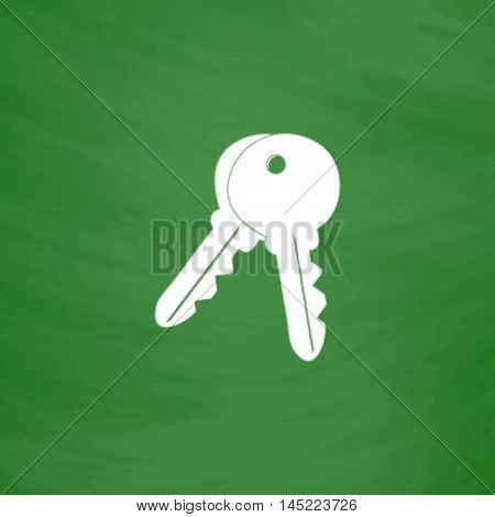 Keys - Unlock tool. Flat Icon. Imitation draw with white chalk on green chalkboard. Flat Pictogram and School board background. Vector illustration symbol