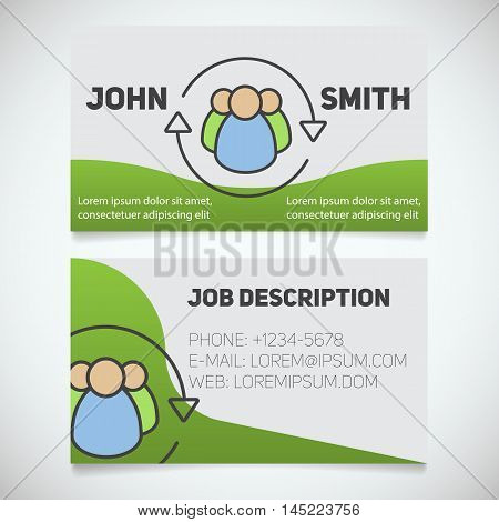 Business card print template with staff turnover logo. HR manager. Employment. Team building. Stationery design concept. Vector illustration
