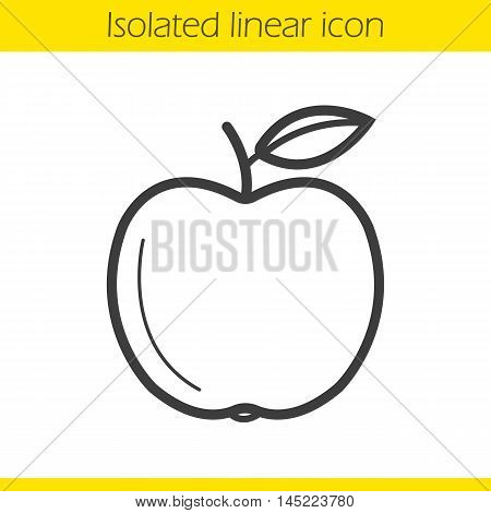 Apple linear icon. Contour symbol. Thin line apple with leaf illustration. Vector isolated outline drawing