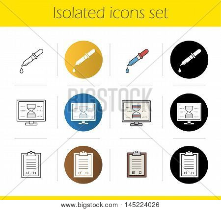 Laboratory analysis icons set. Flat design, linear, black and color styles. Pipette with drop, lab computer, test checklist on clipboard. Isolated vector illustrations