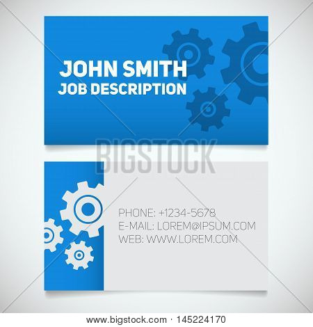 Business card print template with gears logo. Easy edit. Mechanic. Machinist. Cogwheels. Stationery design concept. Vector illustration