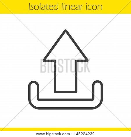 Upload arrow linear icon. Thin line illustration. Files uploading contour symbol. Vector isolated outline drawing