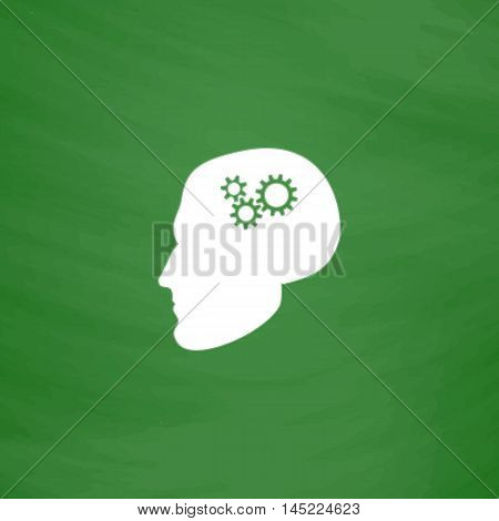Human head gear hybrid knowledge. Flat Icon. Imitation draw with white chalk on green chalkboard. Flat Pictogram and School board background. Vector illustration symbol