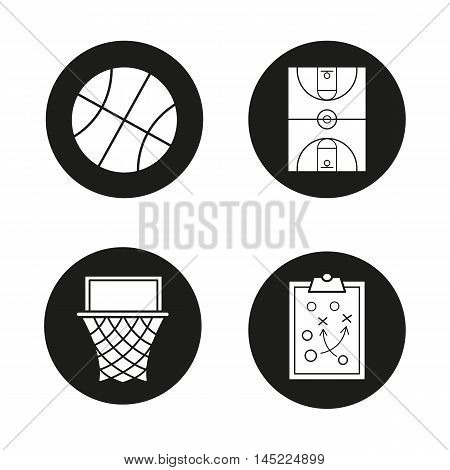 Basketball icons set. Ball, field, court, hoop and clipboard game plan. Vector white illustrations in black circles