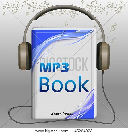 Audio book illustration . Vector audio book 3d metaphor isolated on gray.
