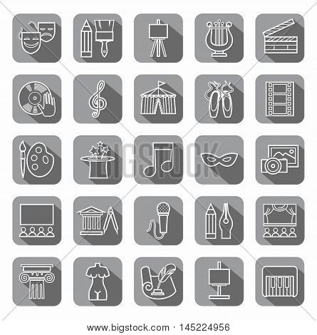 Art & culture, icons, contour, gray.  Vector contour icons attributes of culture and art. White image on a gray background with shadow.