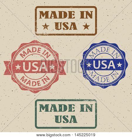 Vintage Made in USA Stamps. vector illustration.