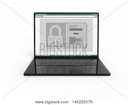 Illustration of 3D black laptop isolated with lock icon and QR code