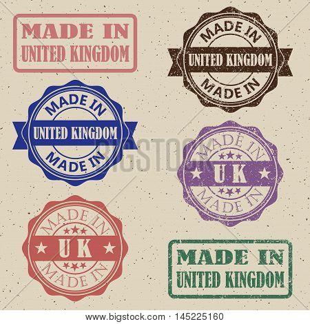 made in UK stamp set. Made in Great Britain stamp set.vector illustration.