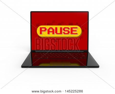 Illustration of 3D black laptop isolated with Pixel game pause screen