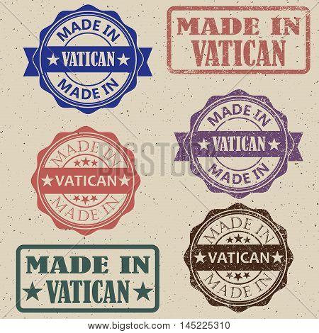 Made in Vatican stamps set Vector illustration