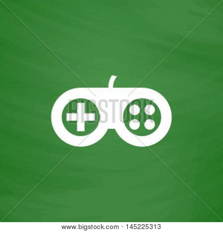 Joystick. Flat Icon. Imitation draw with white chalk on green chalkboard. Flat Pictogram and School board background. Vector illustration symbol