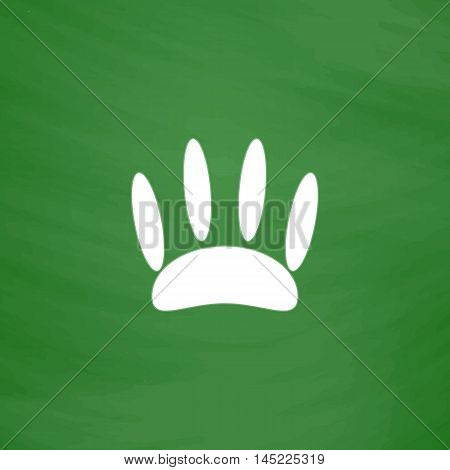 Animal footprint. Flat Icon. Imitation draw with white chalk on green chalkboard. Flat Pictogram and School board background. Vector illustration symbol