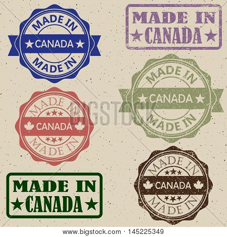 Set of grunge Canada maple leaf rubber stamp icons.Made in Canada stamp vector illustration set