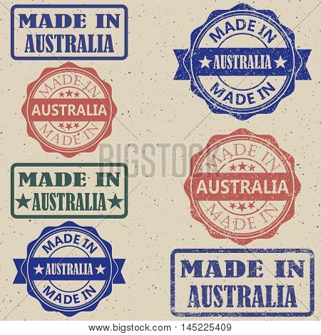 Made in Australia set of stamps vector illustration.