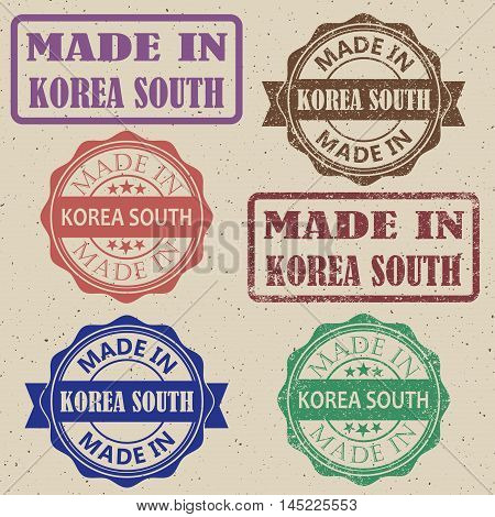 Made in South Korea set of stamps vector illustration.