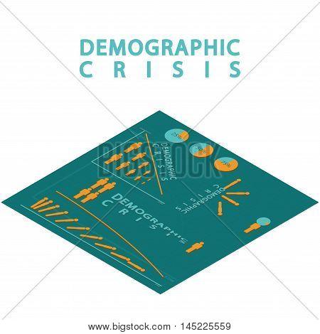 Demographic crisis. Isometric infographic set of  the stick figure. Vector illustration