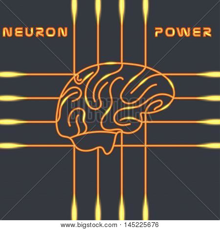 Power of the neural system of the brain. Vector illustration