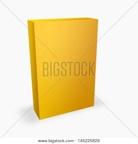 Orange yellow product box presentation with empty copy space isolated on white 3D illustration.