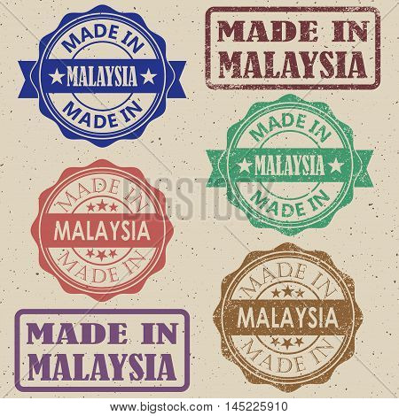 Made in Malaysia set of stamps vector illustrations.