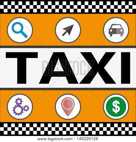 Flat yellow taxi with a driver traveling on the road. Taxi service. Taxi online infographic icons.