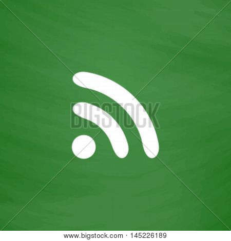 Podcast. Flat Icon. Imitation draw with white chalk on green chalkboard. Flat Pictogram and School board background. Vector illustration symbol