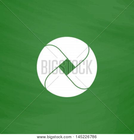 Loop circle. Flat Icon. Imitation draw with white chalk on green chalkboard. Flat Pictogram and School board background. Vector illustration symbol